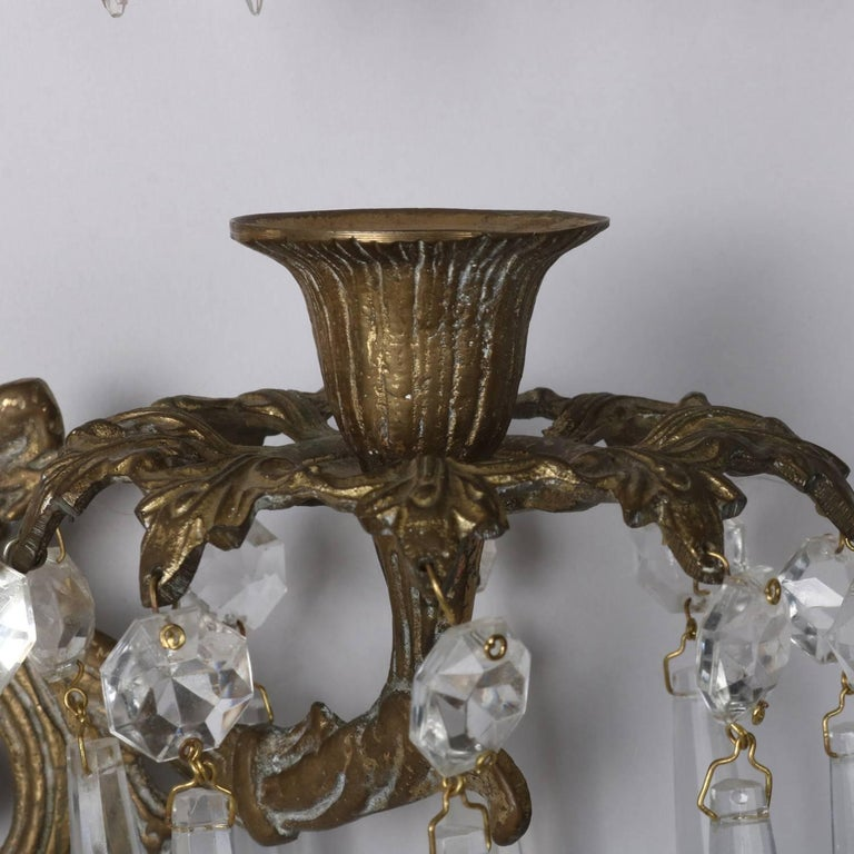Pair of Bronze Cast Lyre and Swan Form Dual Light Crystal Sconces, circa 1930 For Sale 5