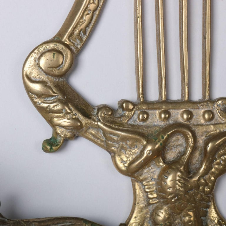 Pair of Bronze Cast Lyre and Swan Form Dual Light Crystal Sconces, circa 1930 In Good Condition For Sale In Big Flats, NY