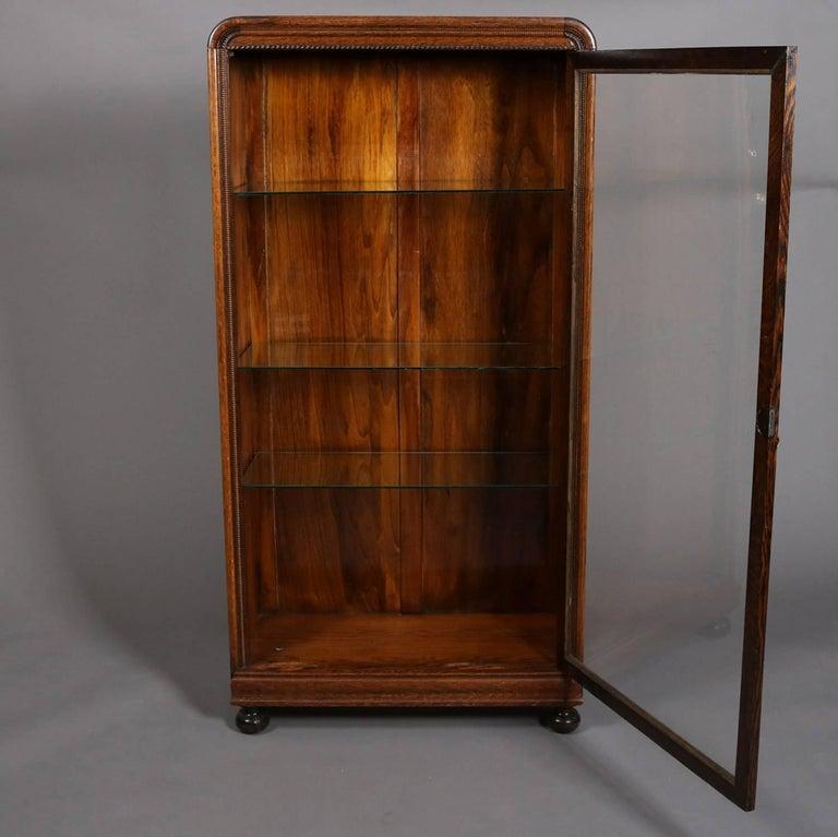 Antique Oak Single Glass Door Closed Display Cabinet Ball Feet