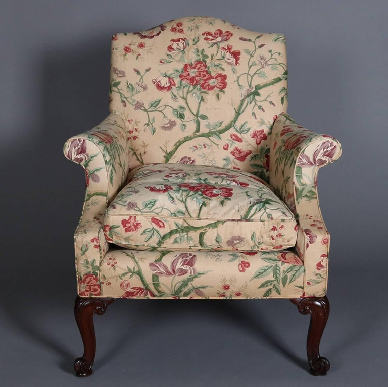 Three Queen Anne Style Floral Chintz Upholstered Armchairs ...