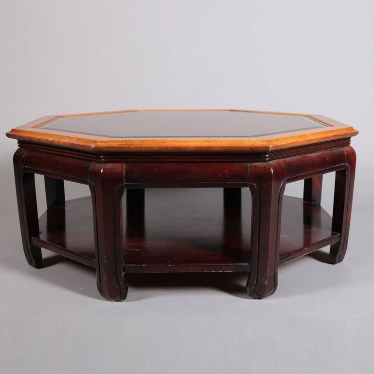 Chinese Style Hexagonal Mahogany, Walnut and Cane Top Coffee Table, circa 1920 For Sale 1
