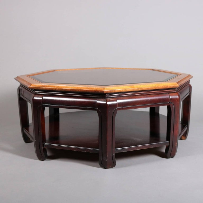 Chinese Style Hexagonal Mahogany, Walnut and Cane Top Coffee Table, circa 1920 For Sale 2