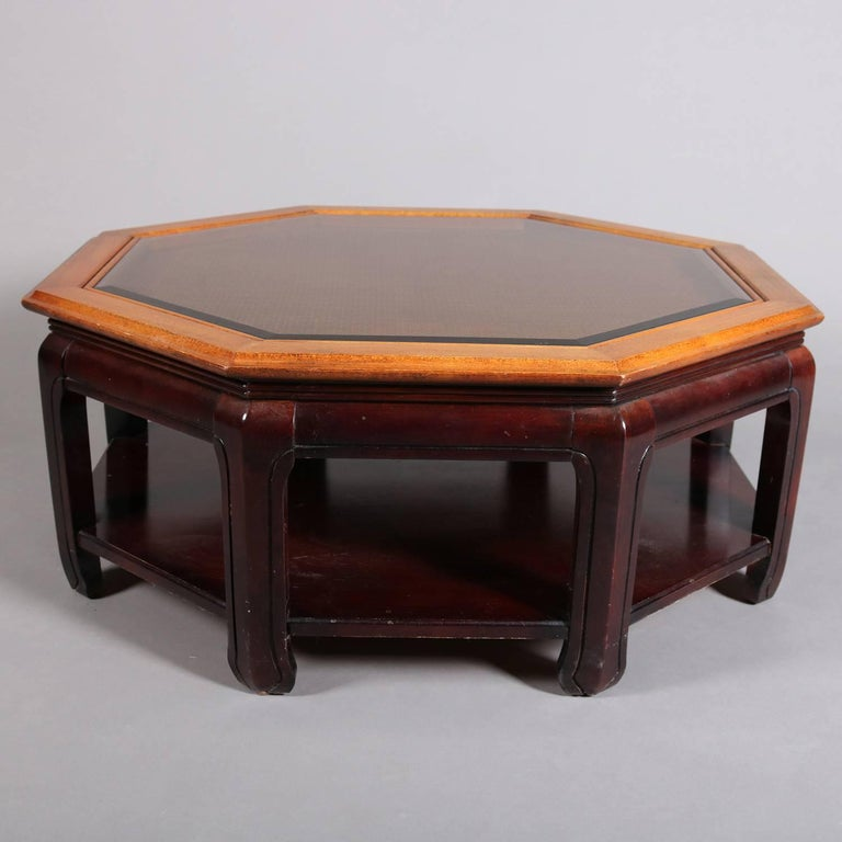 Antique Chinese style hexagonal coffee table features mahogany base with glass covered caned top framed in walnut, 20th century  ***DELIVERY NOTICE – Due to COVID-19 we are employing NO-CONTACT PRACTICES in the transfer of purchased items.