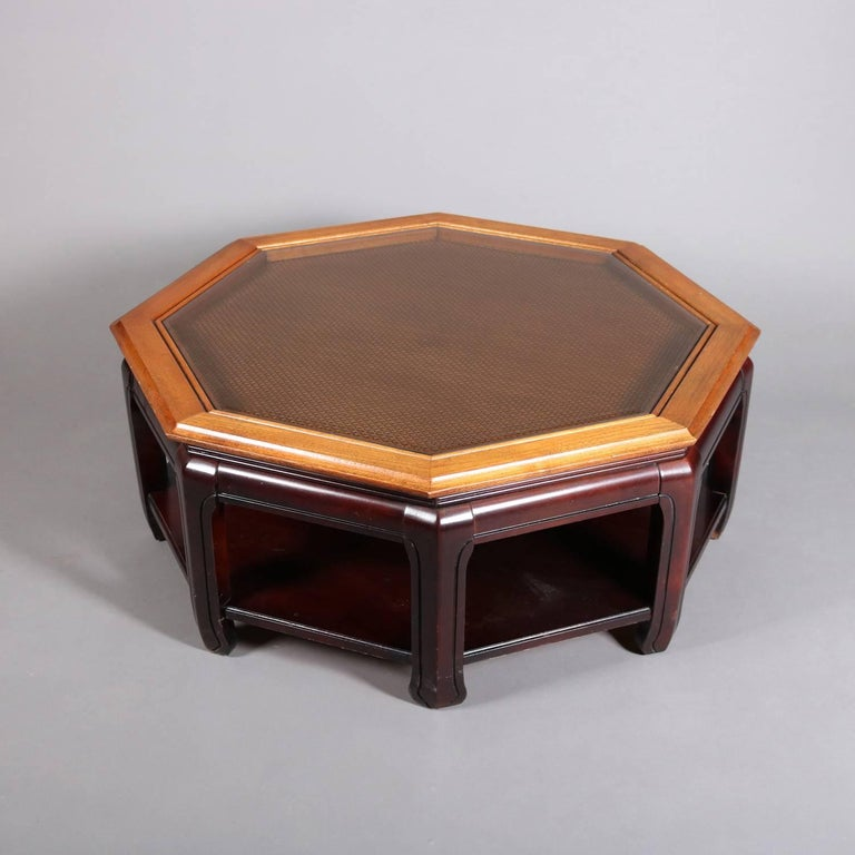 Chinese Style Hexagonal Mahogany, Walnut and Cane Top Coffee Table, circa 1920 For Sale 3