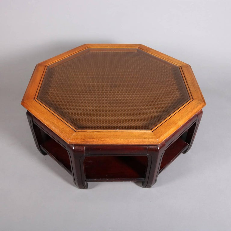 20th Century Chinese Style Hexagonal Mahogany, Walnut and Cane Top Coffee Table, circa 1920 For Sale