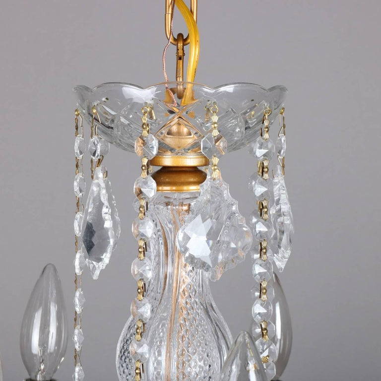 French Cut Crystal And Gilt 10 Light Chandelier 20th