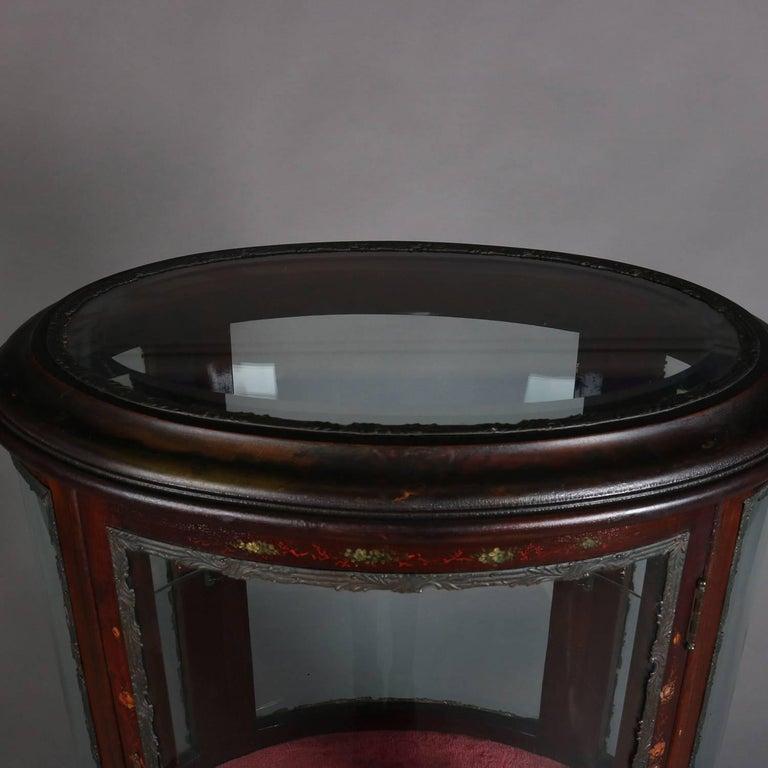 Glass Antique French Louis XV Vernis Martin Mahogany & Ormolu Petite Curio, c 1900 For Sale