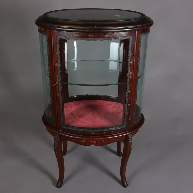 Antique French Louis XV Vernis Martin Mahogany & Ormolu Petite Curio, c 1900 In Good Condition For Sale In Big Flats, NY