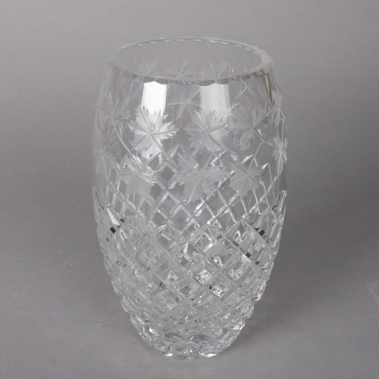 Antique Hawkes School Brilliant Cut Crystal Maple Leaf Vase, 20th Century For Sale 4