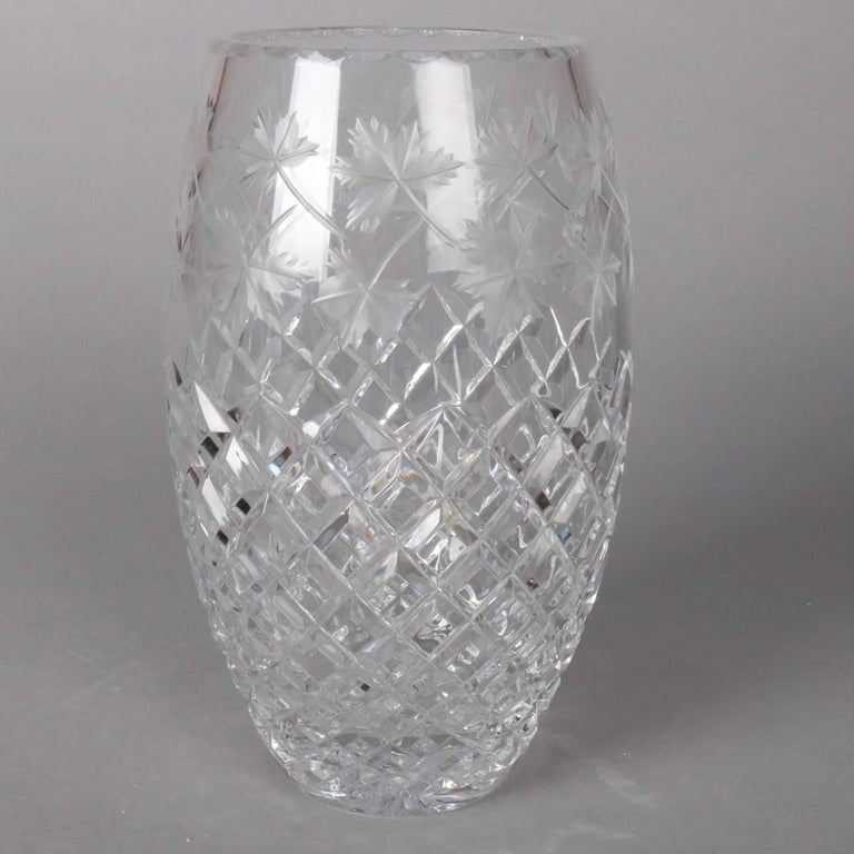 Antique Hawkes School Brilliant Cut Crystal Maple Leaf Vase, 20th Century In Good Condition For Sale In Big Flats, NY