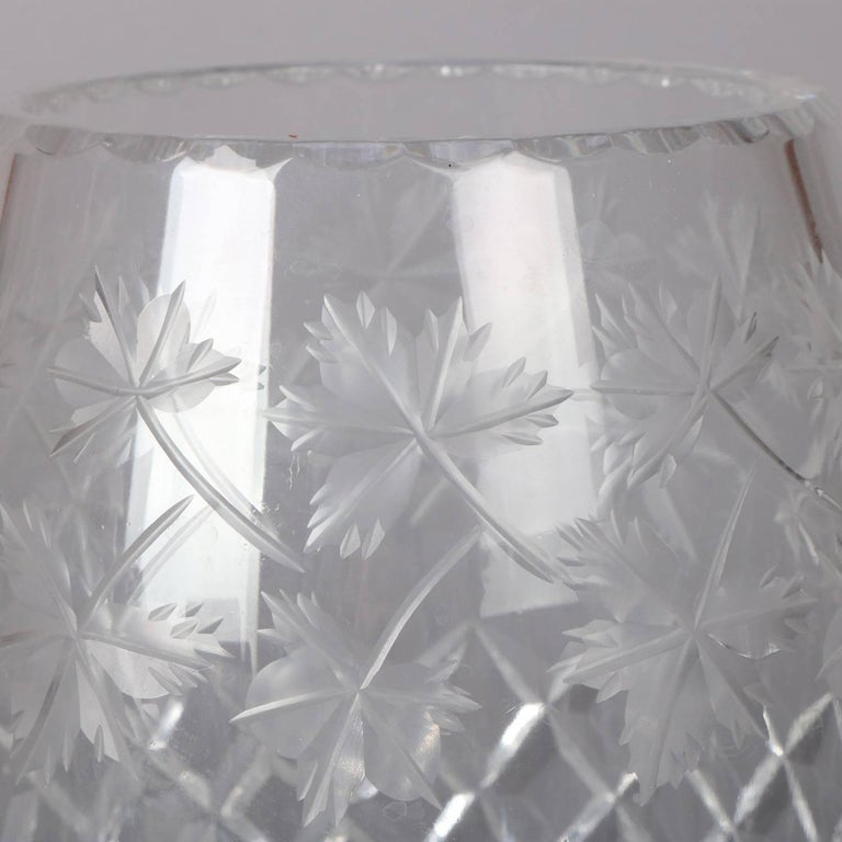 Antique Hawkes School Brilliant Cut Crystal Maple Leaf Vase, 20th Century For Sale 1