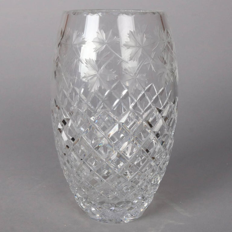 Antique Hawkes school brilliant cut crystal vase features ovoid form with cross hatched lower and etched maple leaf upper, 20th century  ***DELIVERY NOTICE – Due to COVID-19 we are employing NO-CONTACT PRACTICES in the transfer of purchased items.