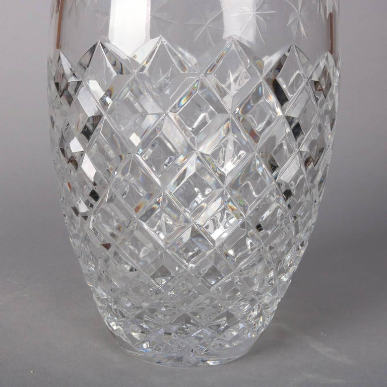 Antique Hawkes School Brilliant Cut Crystal Maple Leaf Vase, 20th Century For Sale 2
