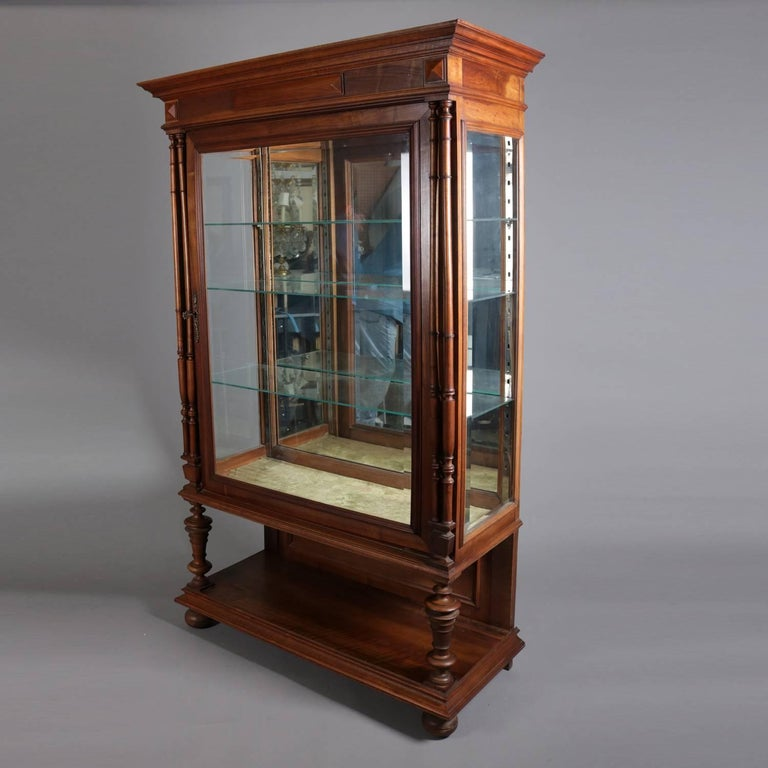 antique mahogany curio cabinet vintage carved mahogany mirror back curio cabinet 20th 4113