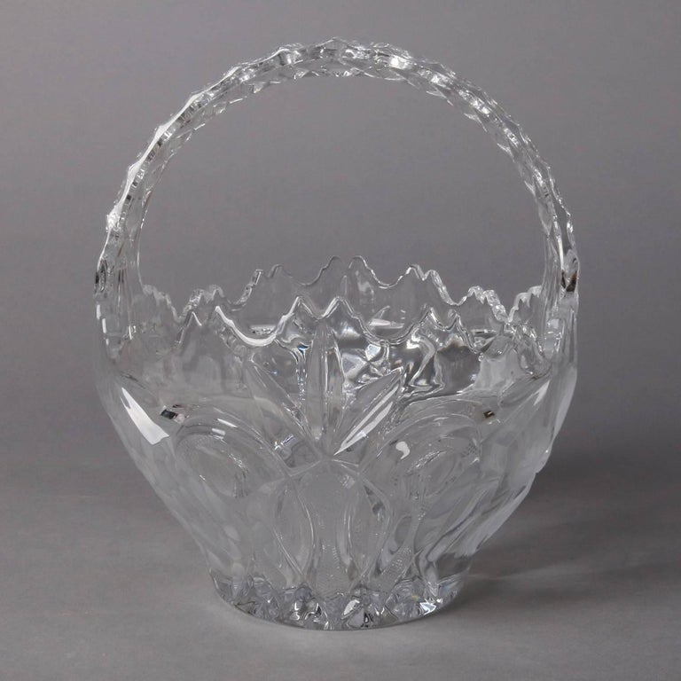American Hawkes School Cut and Etched Grape and Floral Crystal Basket, 20th Century For Sale