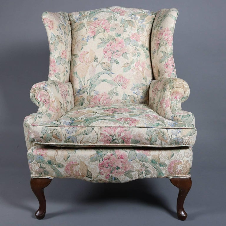 Pair Of Queen Anne Style Floral Upholstered Wingback