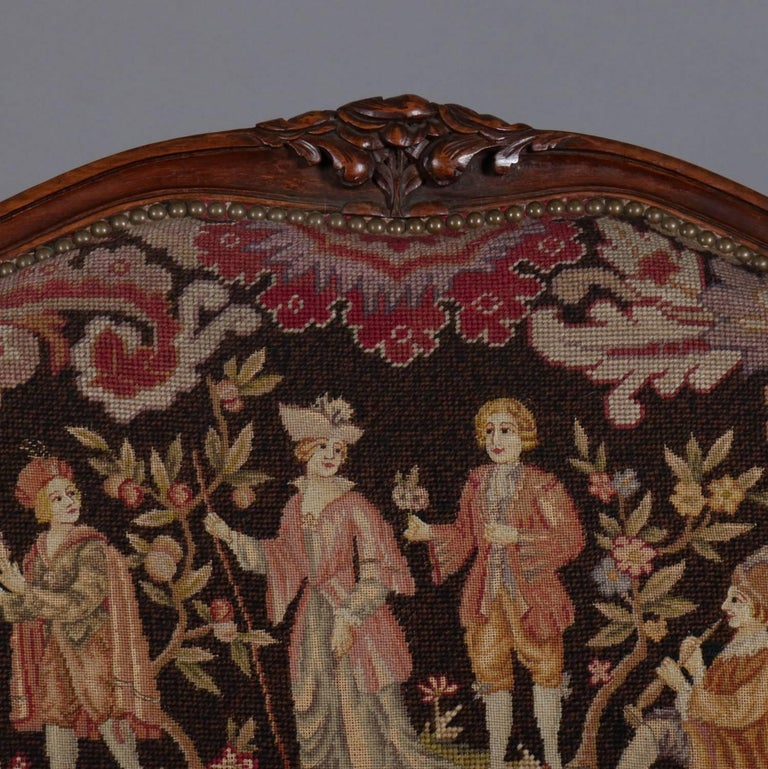 Carved French Louis XV Style Mahogany and Pictorial Tapestry Settee, 19th Century For Sale