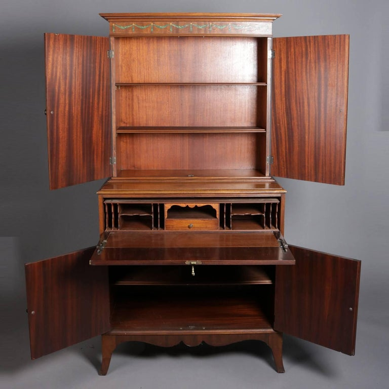 Antique Drop Front Secretary Desk >> Antique Adam Style Painted Decorated Mahogany Drop Front Secretary 20th Century