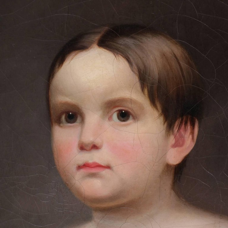 Antique Oil on Canvas Portrait Painting \