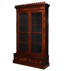 Antique Burl Walnut Step-Back Enclosed Bookcase, circa 1890