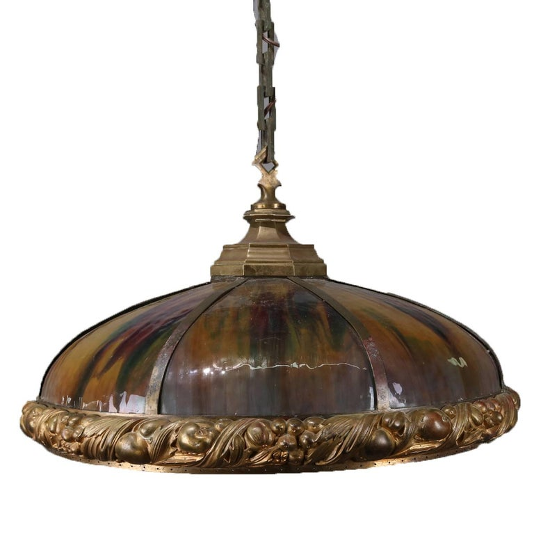 Arts and Crafts Arts & Crafts Bradley & Hubbard School Slag Glass Dome Chandelier, circa 1910 For Sale