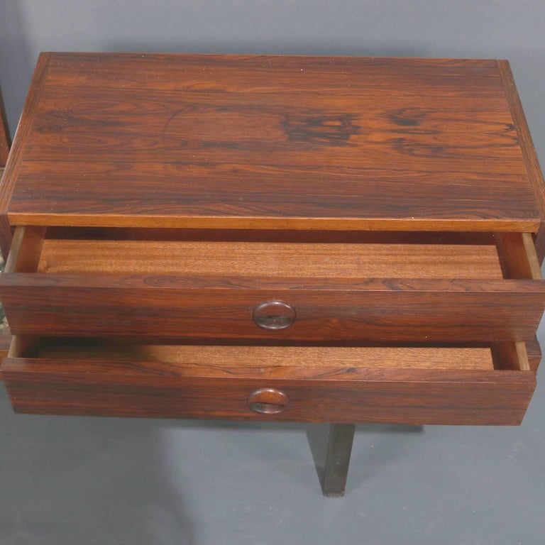 Mid-Century Modern Milo Baughman School Rosewood and Natural Stone Vanity In Good Condition For Sale In Big Flats, NY