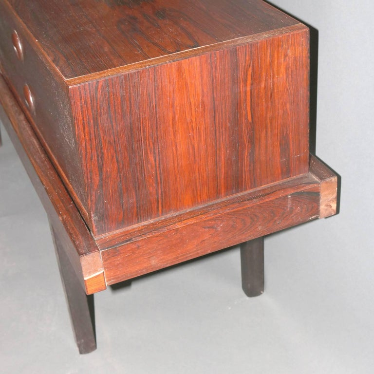 Mid-Century Modern Milo Baughman School Rosewood and Natural Stone Vanity For Sale 3
