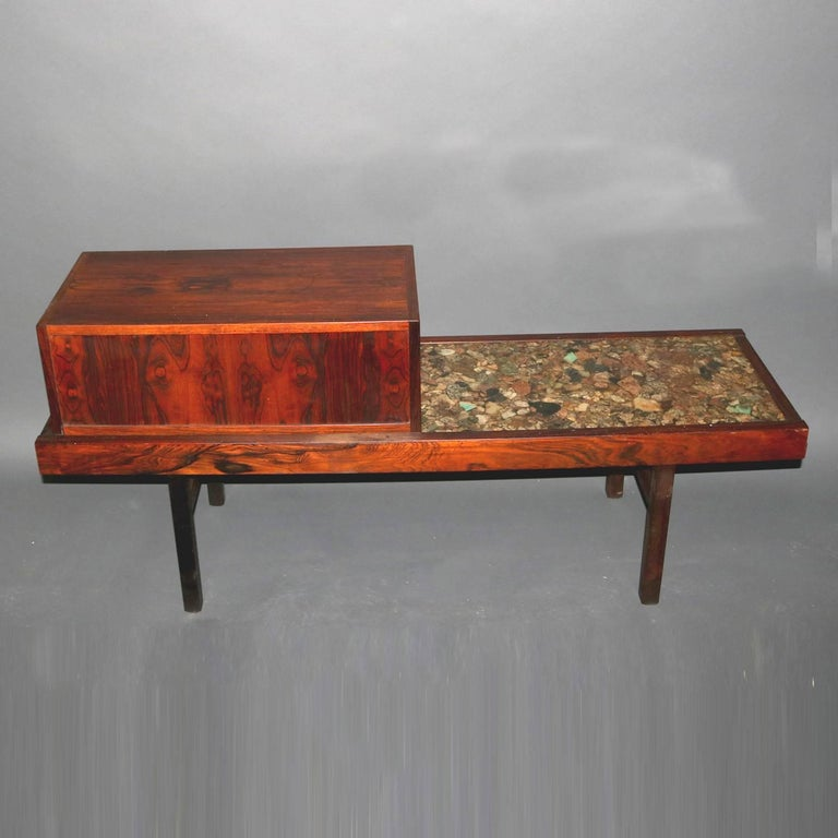 American Mid-Century Modern Milo Baughman School Rosewood and Natural Stone Vanity For Sale