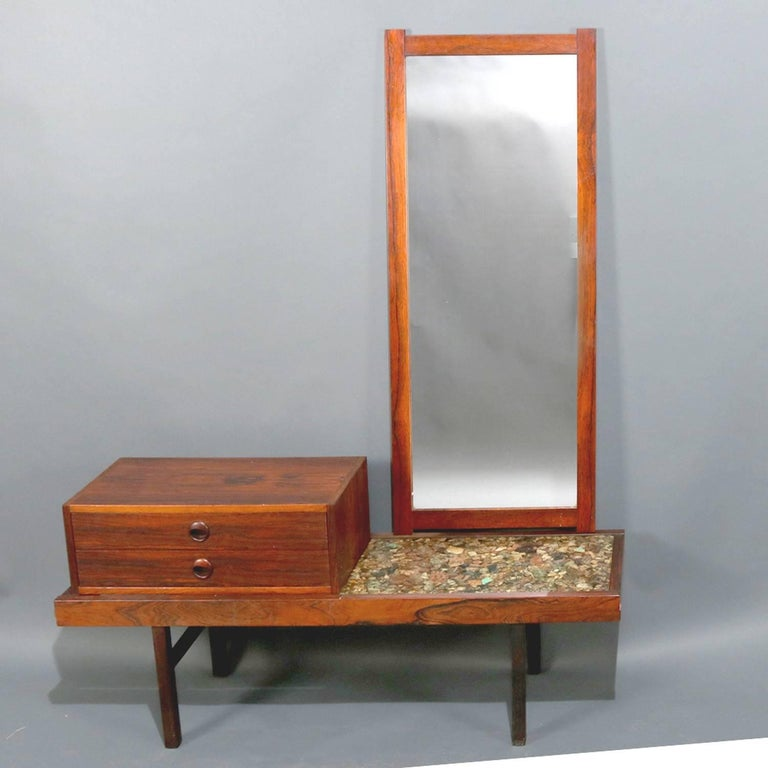 Mid-Century Modern Milo Baughman School dressing vanity features rosewood construction with natural stone and resin top, dressing mirror and two drawer vanity interchangeable, circa 1960