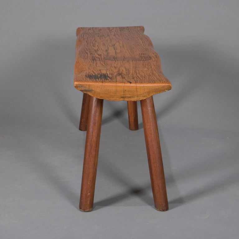 Adirondack Old Hickory School Hand-Carved Mortice & Tenon Slab Wood Bench In Good Condition For Sale In Big Flats, NY