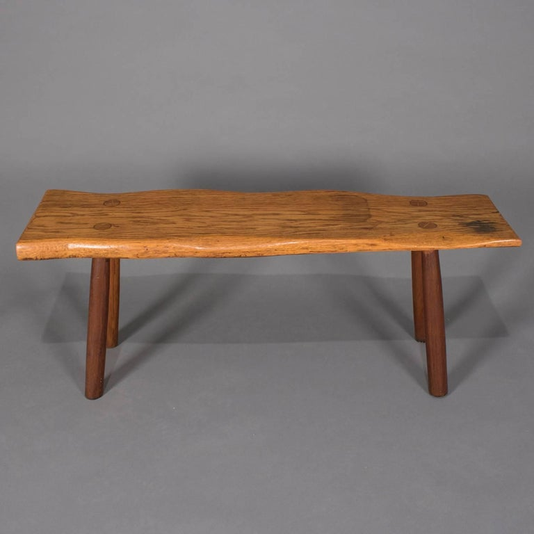 American Adirondack Old Hickory School Hand-Carved Mortice & Tenon Slab Wood Bench For Sale