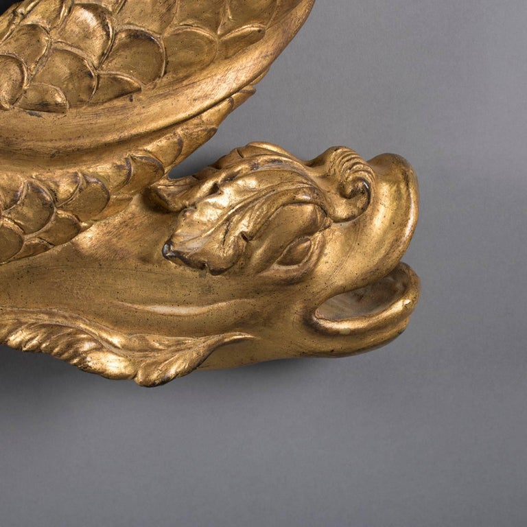 Chinese Large Italian Figural Carved Dolphin Giltwood Wall Mirror, 20th Century For Sale