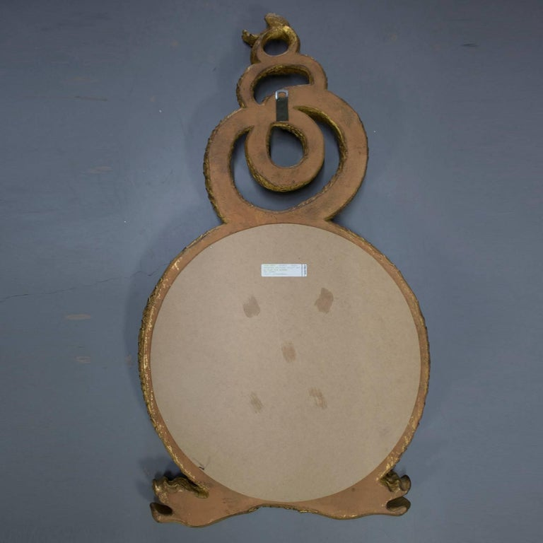 Large Italian Figural Carved Dolphin Giltwood Wall Mirror, 20th Century For Sale 1
