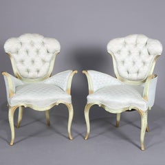 Hollywood Regency French Style Giltwood Upholstered Parlour Armchairs