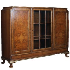 Antique French Louis XV Style Banded, Gilt Burl Walnut Three-Door Bookcase c1900