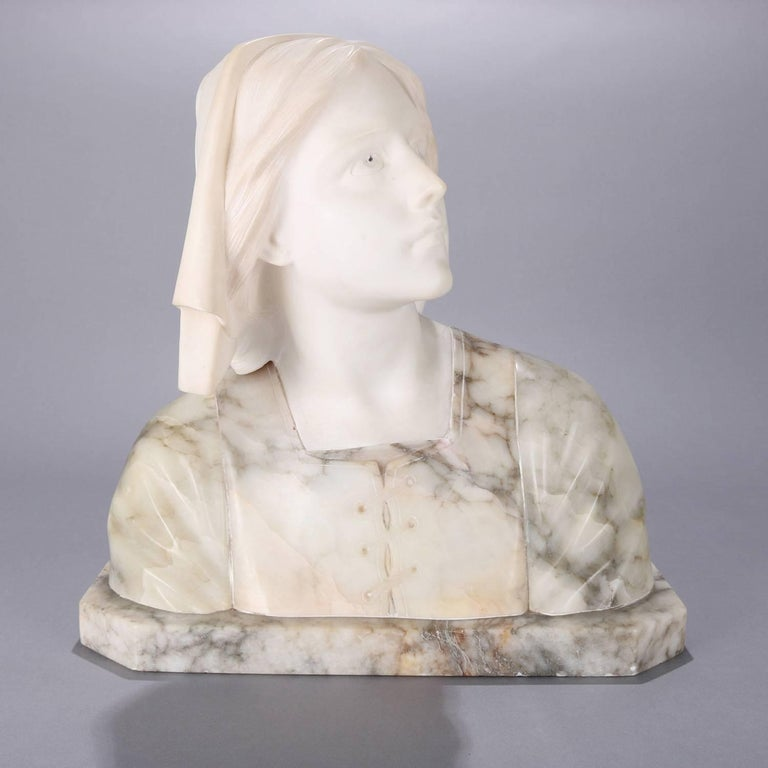 Finely executed and oversized Italian antique hand carved marble and alabaster portrait female bust depicts onlooking Dante's Beatrice, circa 1880