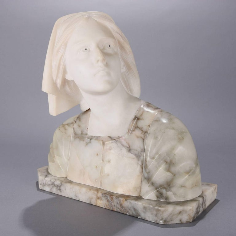 Italian Oversized Antique Carved Marble and Alabaster Portrait Bust Dante's Beatrice For Sale