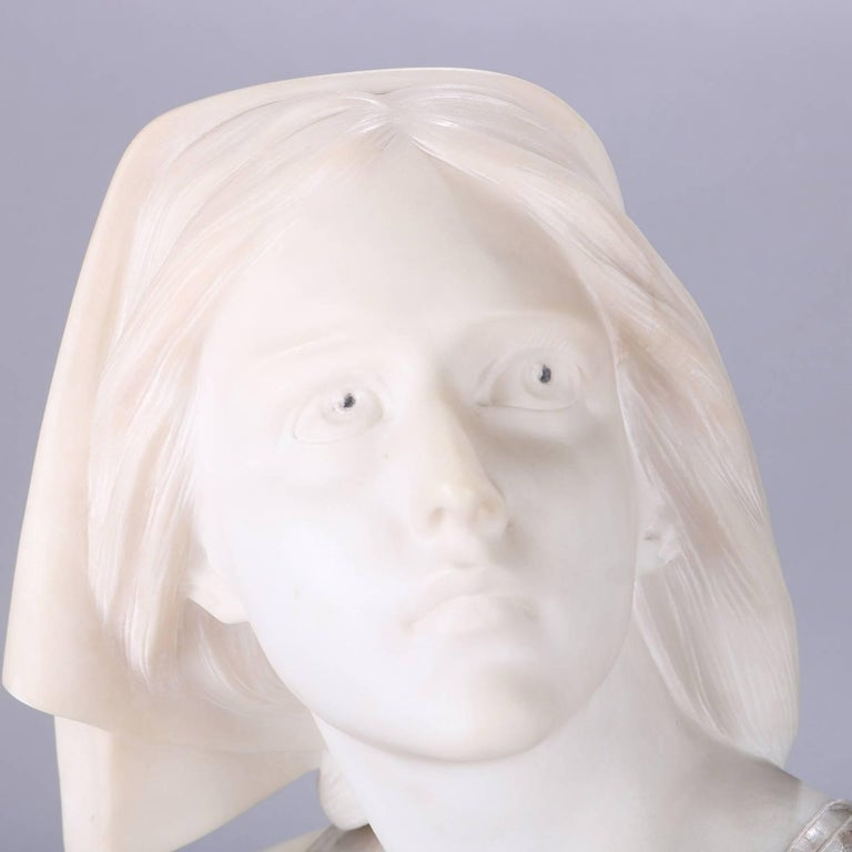 Hand-Carved Oversized Antique Carved Marble and Alabaster Portrait Bust Dante's Beatrice For Sale