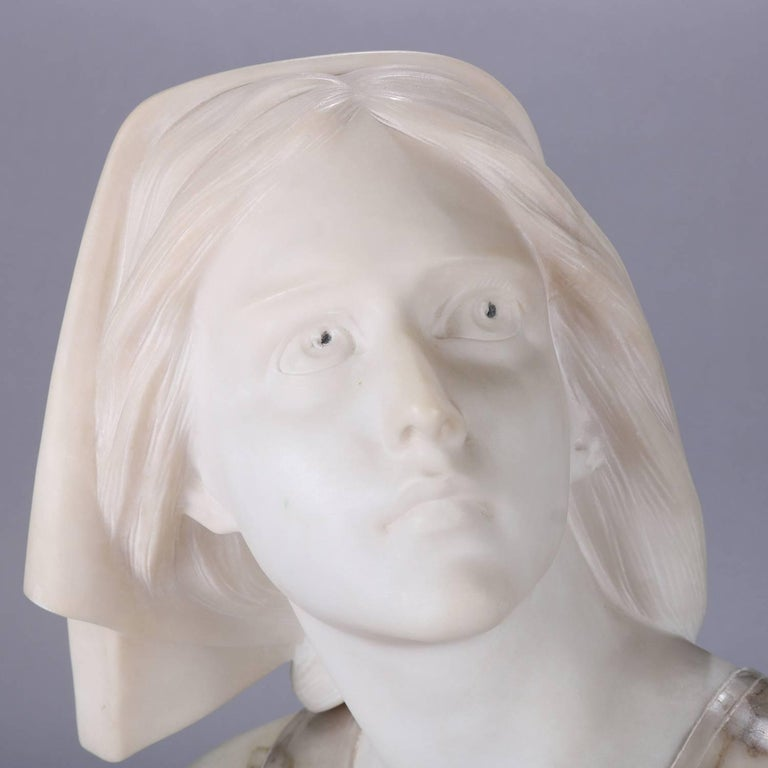 Oversized Antique Carved Marble and Alabaster Portrait Bust Dante's Beatrice In Good Condition For Sale In Big Flats, NY