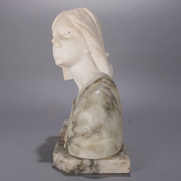 Oversized Antique Carved Marble and Alabaster Portrait Bust Dante's Beatrice For Sale 2