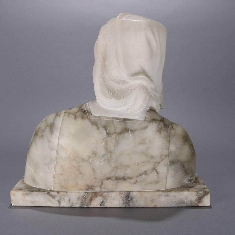 Oversized Antique Carved Marble and Alabaster Portrait Bust Dante's Beatrice For Sale 4