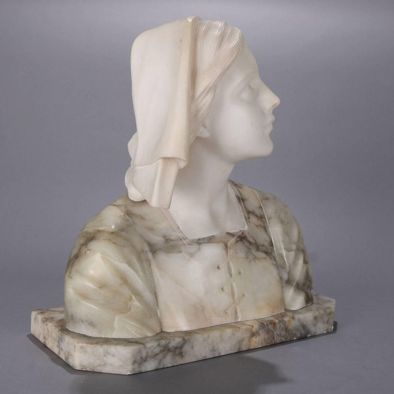 Oversized Antique Carved Marble and Alabaster Portrait Bust Dante's Beatrice For Sale 6
