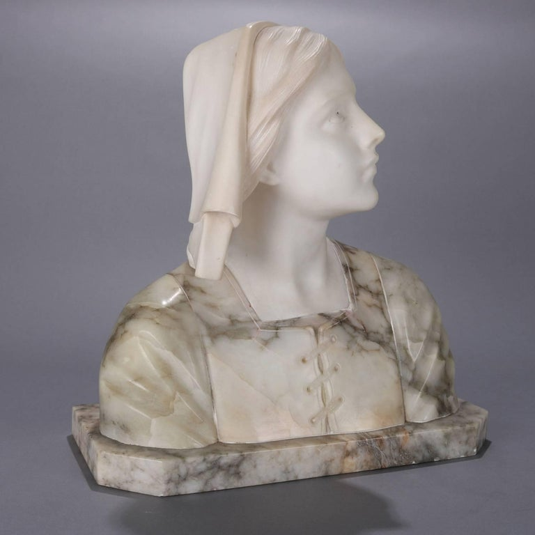 Oversized Antique Carved Marble and Alabaster Portrait Bust Dante's Beatrice For Sale 7