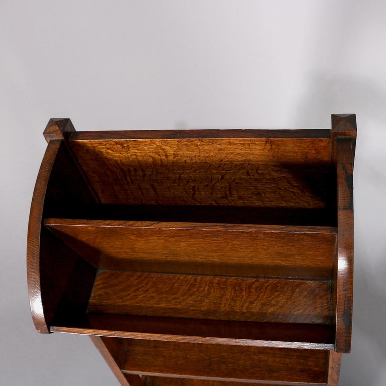 Antique Arts & Crafts Stickley School Oak Four-Tier Magazine Rack and Stand For Sale 1