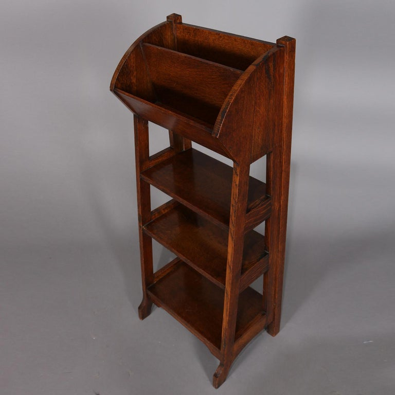 Arts and Crafts Antique Arts & Crafts Stickley School Oak Four-Tier Magazine Rack and Stand For Sale