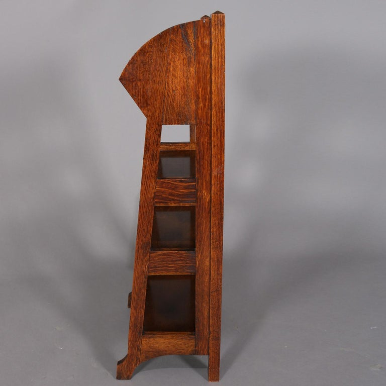 20th Century Antique Arts & Crafts Stickley School Oak Four-Tier Magazine Rack and Stand For Sale