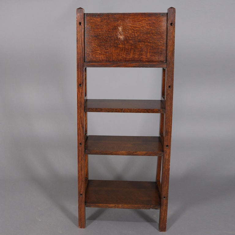 Antique Arts & Crafts Stickley School Oak Four-Tier Magazine Rack and Stand In Good Condition For Sale In Big Flats, NY
