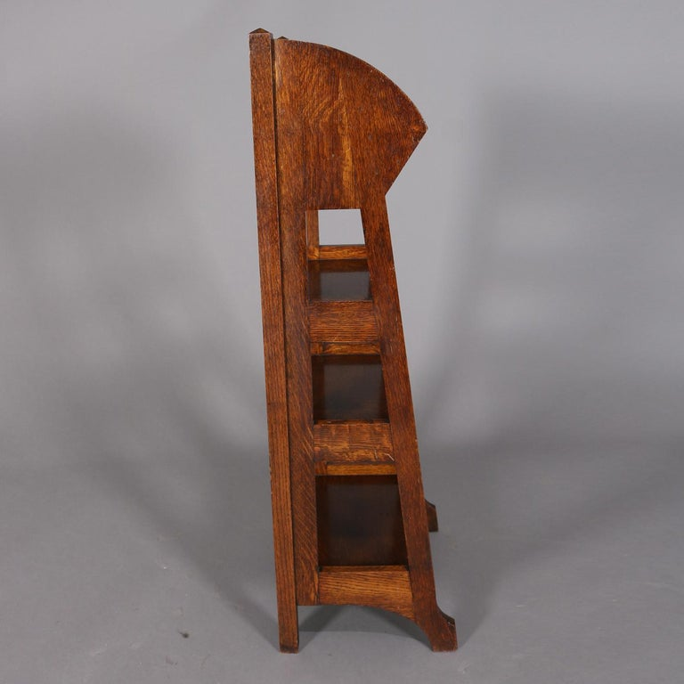 American Antique Arts & Crafts Stickley School Oak Four-Tier Magazine Rack and Stand For Sale