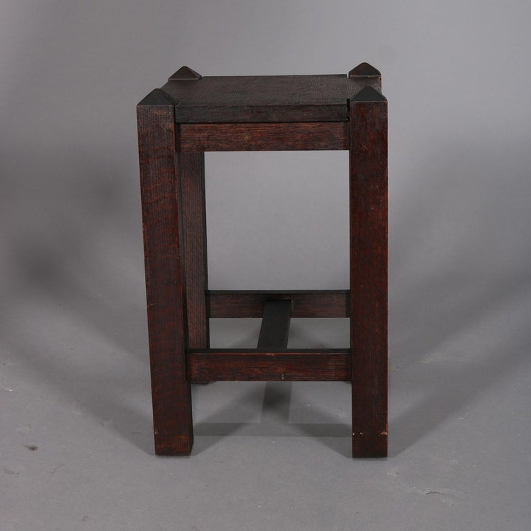 Arts and Crafts Antique Arts & Crafts Stickley School Mission Oak Plant Stand, circa 1910 For Sale