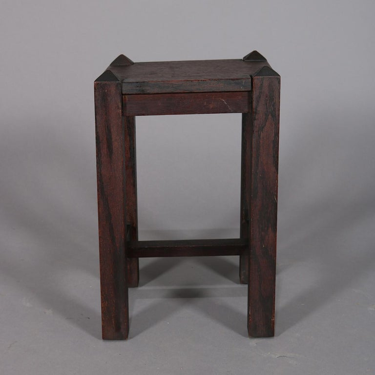 American Antique Arts & Crafts Stickley School Mission Oak Plant Stand, circa 1910 For Sale